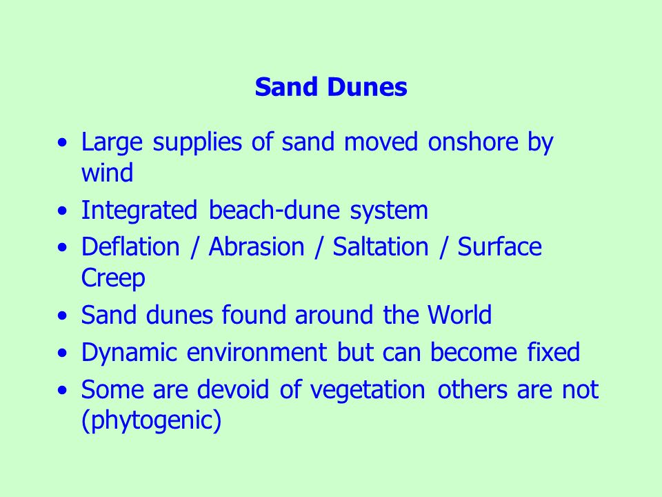 Sand Dunes Large supplies of sand moved onshore by wind. Integrated beach-dune system. Deflation / Abrasion / Saltation / Surface Creep.