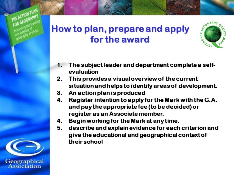 How to plan, prepare and apply
