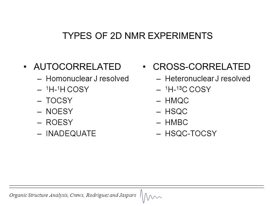 TYPES OF 2D NMR EXPERIMENTS