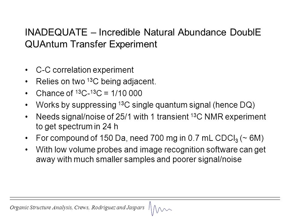 INADEQUATE – Incredible Natural Abundance DoublE QUAntum Transfer Experiment