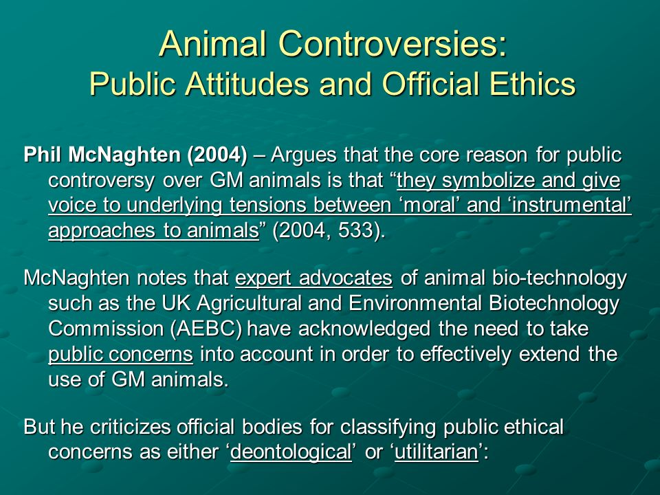 Animal Controversies: Public Attitudes and Official Ethics