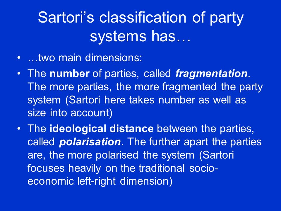 Sartori's classification of party systems has…