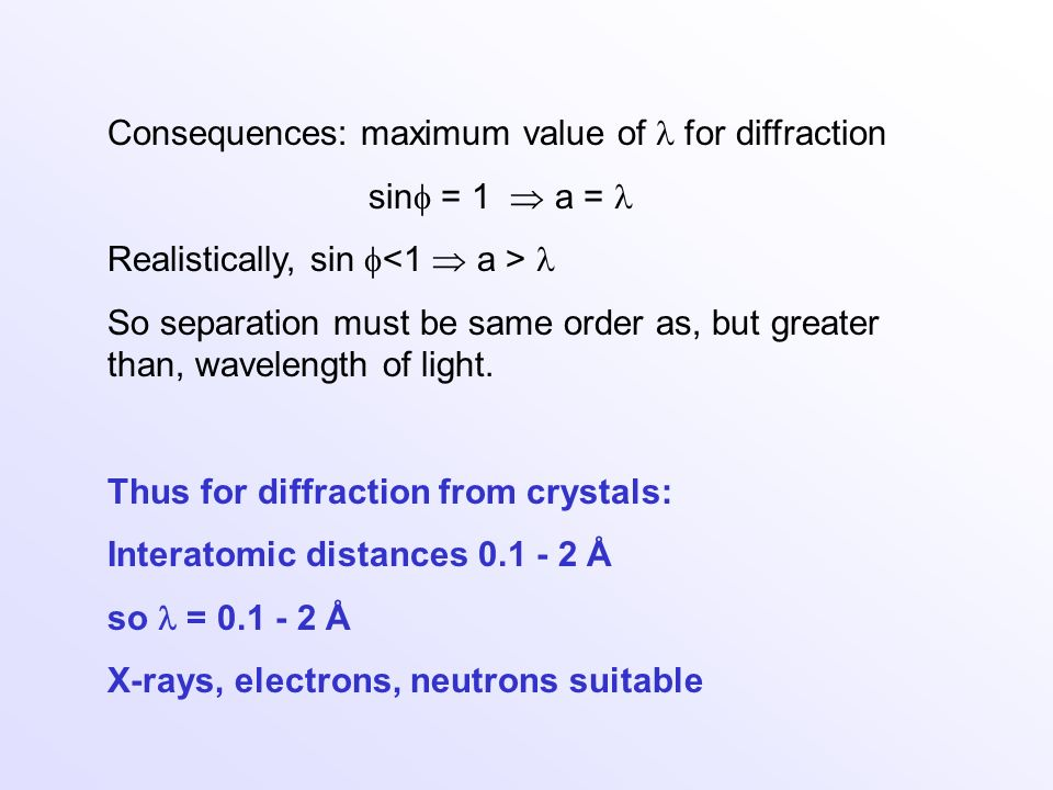 Consequences: maximum value of  for diffraction