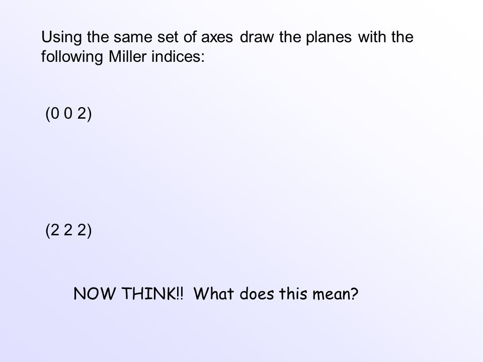 Using the same set of axes draw the planes with the following Miller indices: