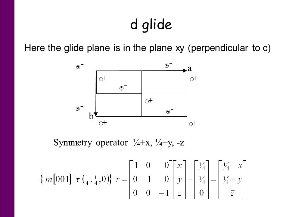 d glide Here the glide plane is in the plane xy (perpendicular to c) a