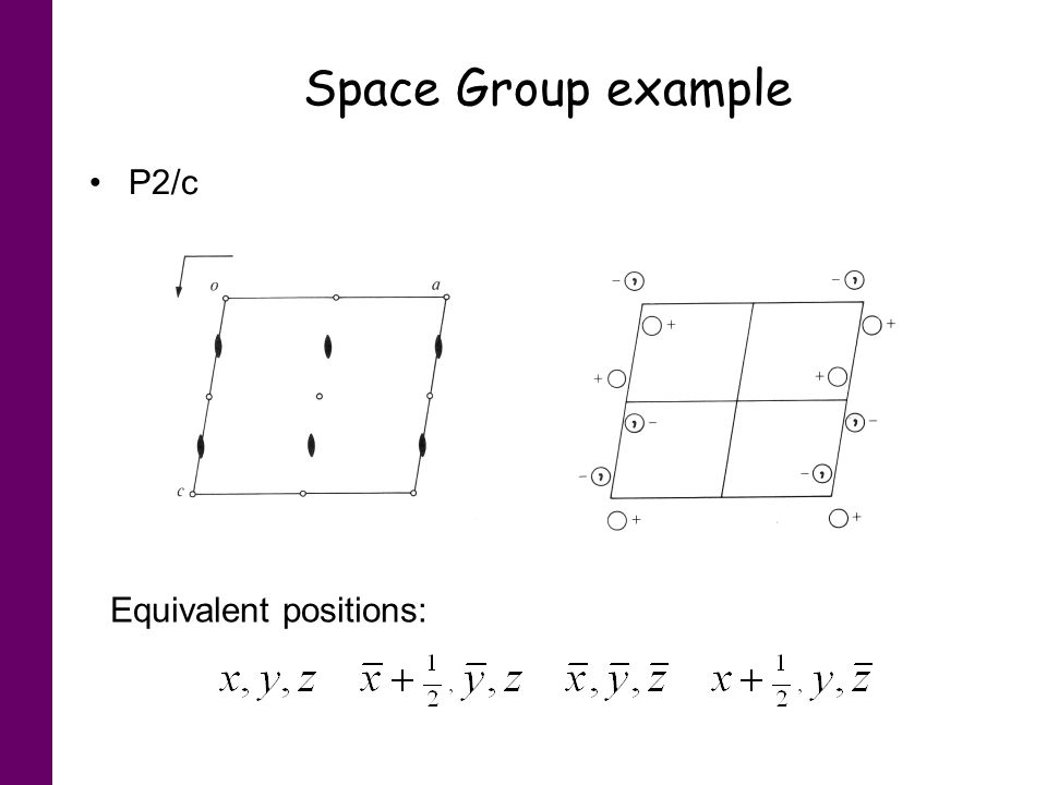 Space Group example P2/c Equivalent positions: