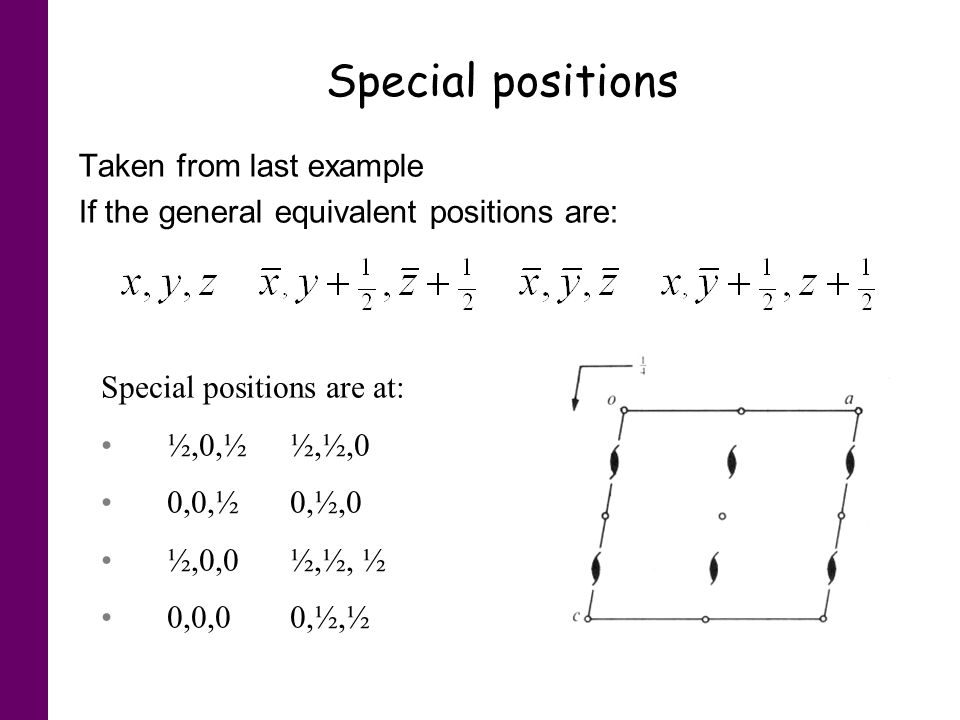 Special positions Taken from last example