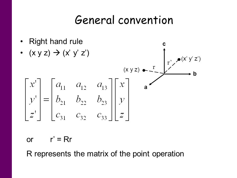 General convention Right hand rule (x y z)  (x' y' z') or r' = Rr