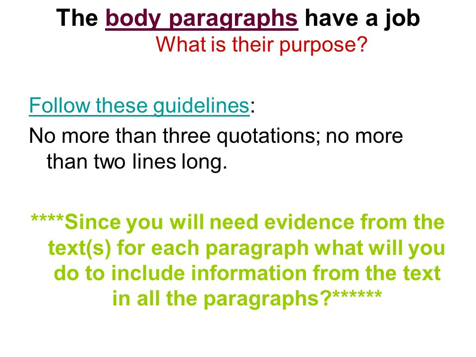 The body paragraphs have a job What is their purpose