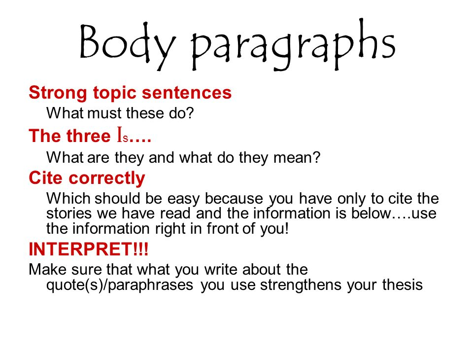 Body paragraphs Strong topic sentences The three Is…. Cite correctly