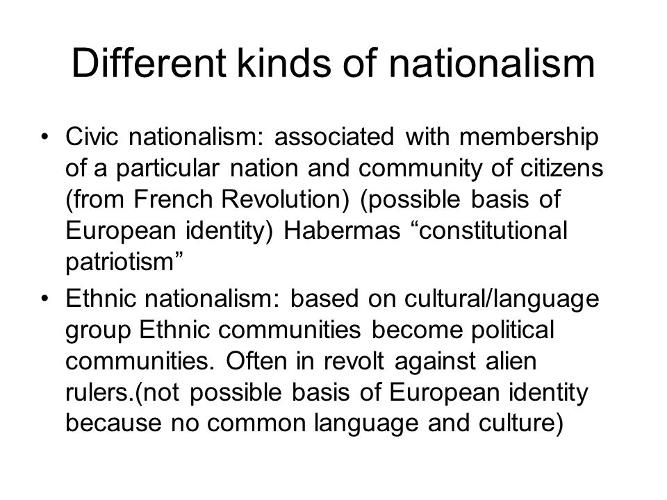 Different kinds of nationalism