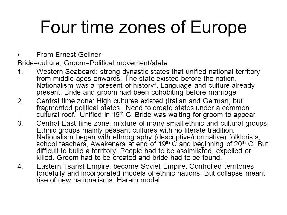 Four time zones of Europe