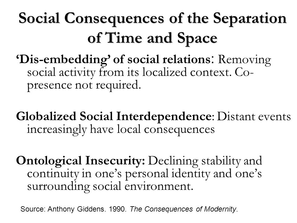Social Consequences of the Separation of Time and Space