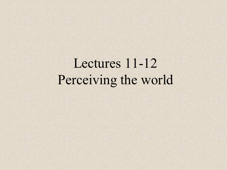 Lectures 11-12 Perceiving the world