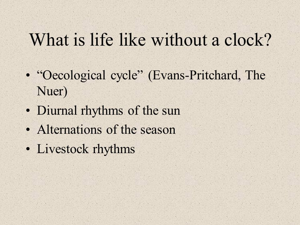 What is life like without a clock