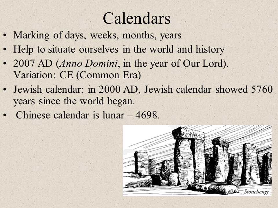 Calendars Marking of days, weeks, months, years
