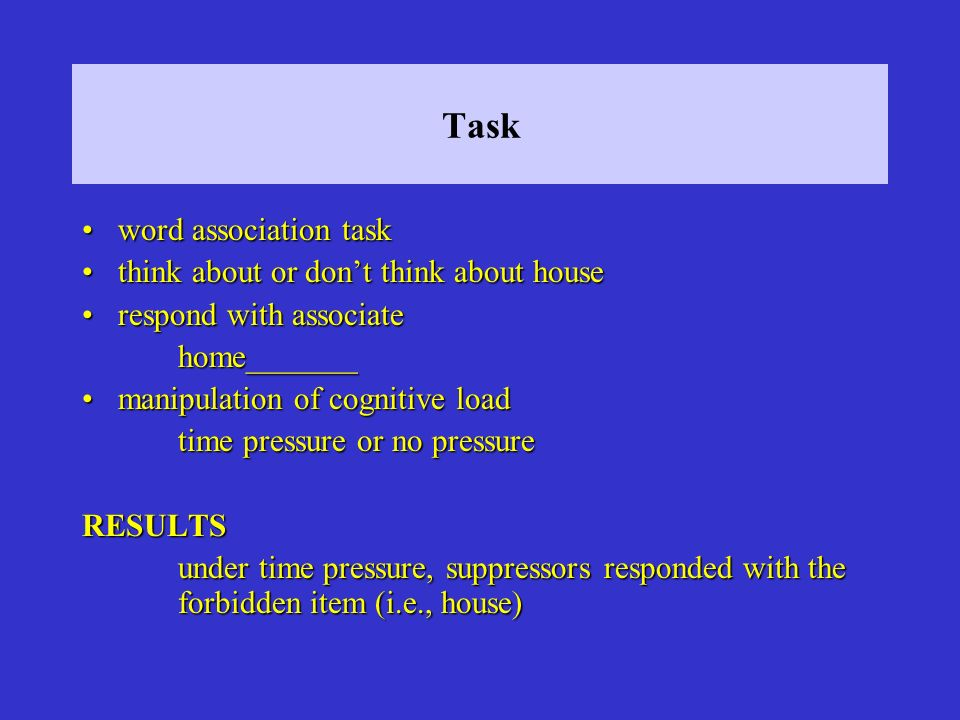 Task word association task think about or don't think about house