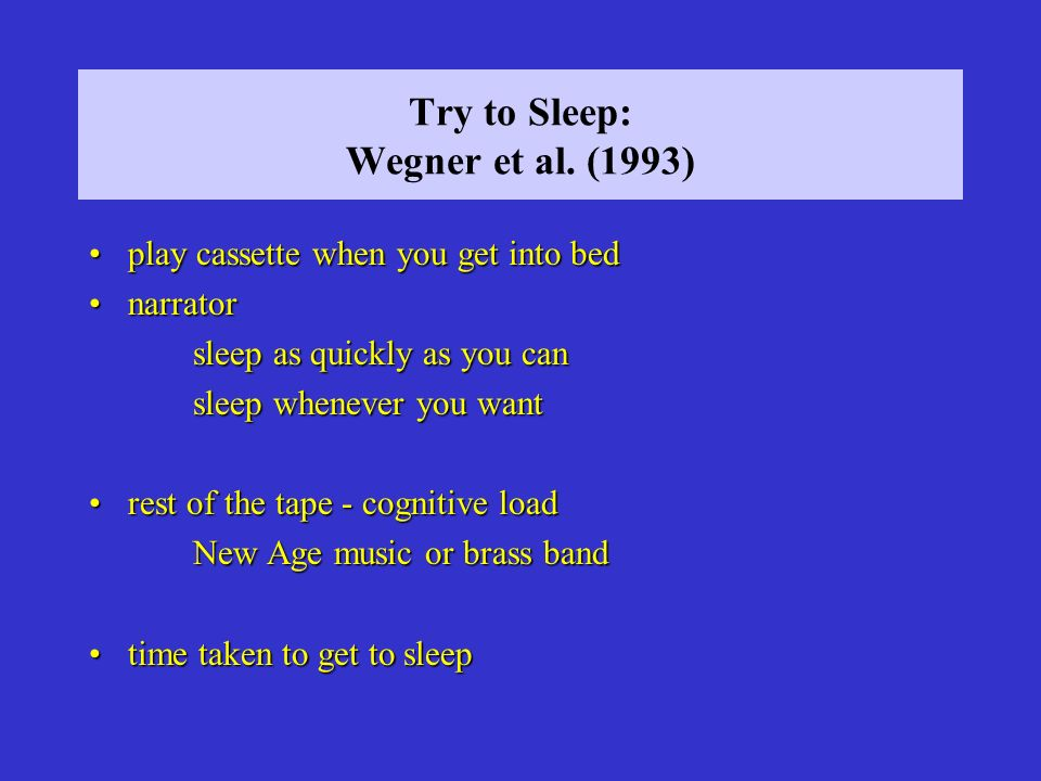 Try to Sleep: Wegner et al. (1993)