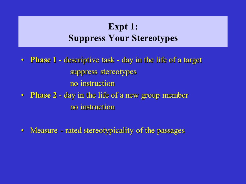Expt 1: Suppress Your Stereotypes