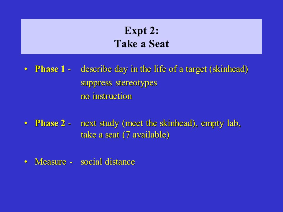 Expt 2: Take a Seat Phase 1 - describe day in the life of a target (skinhead) suppress stereotypes.
