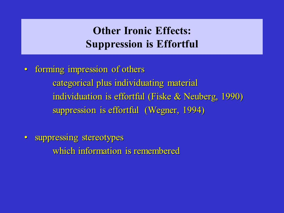 Other Ironic Effects: Suppression is Effortful
