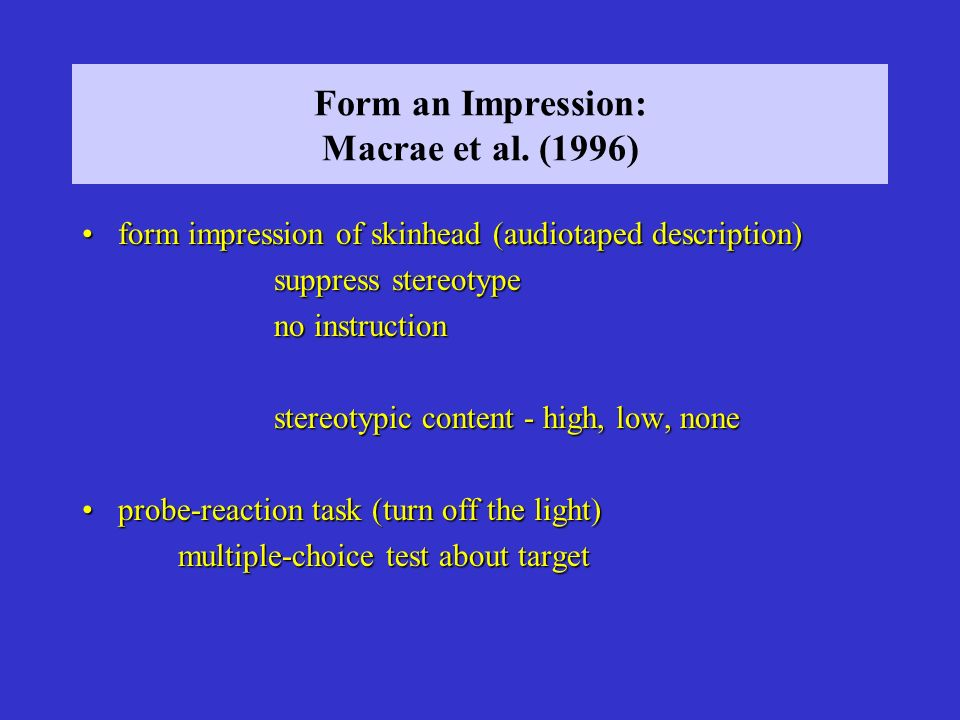 Form an Impression: Macrae et al. (1996)