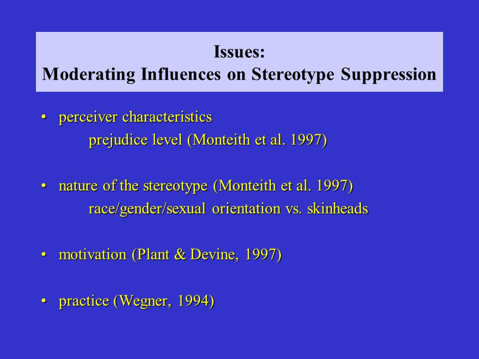 Issues: Moderating Influences on Stereotype Suppression