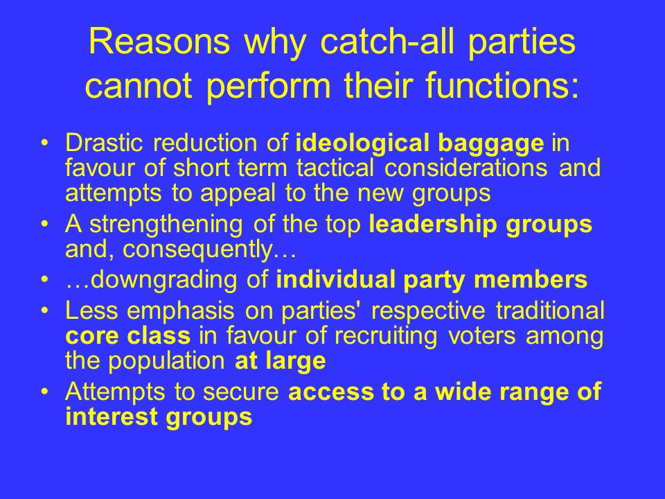 Reasons why catch-all parties cannot perform their functions: