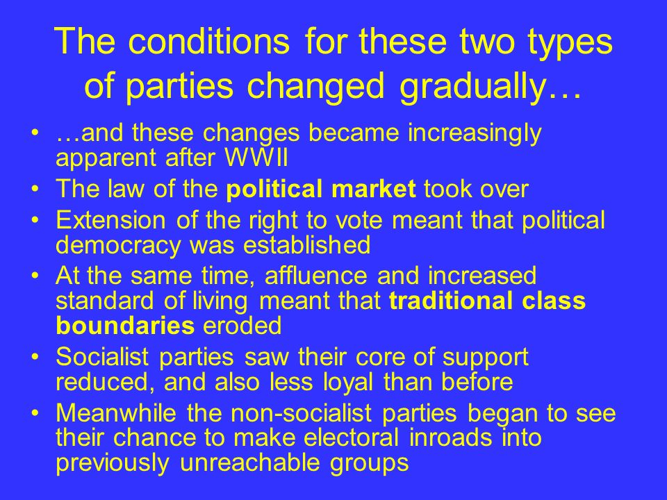 The conditions for these two types of parties changed gradually…