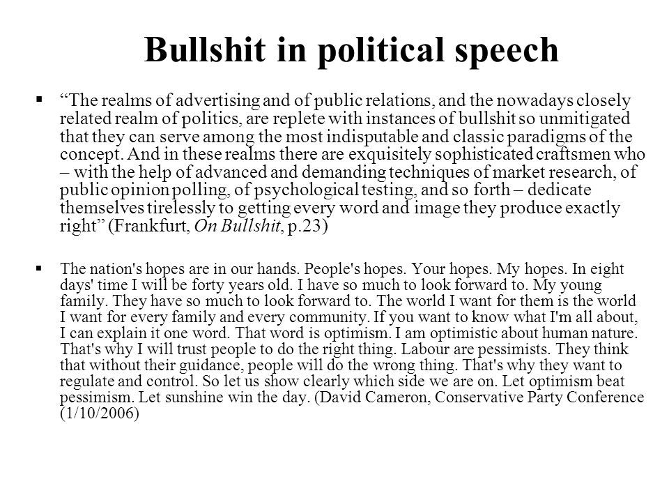 Bullshit in political speech