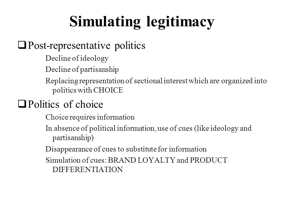 Simulating legitimacy
