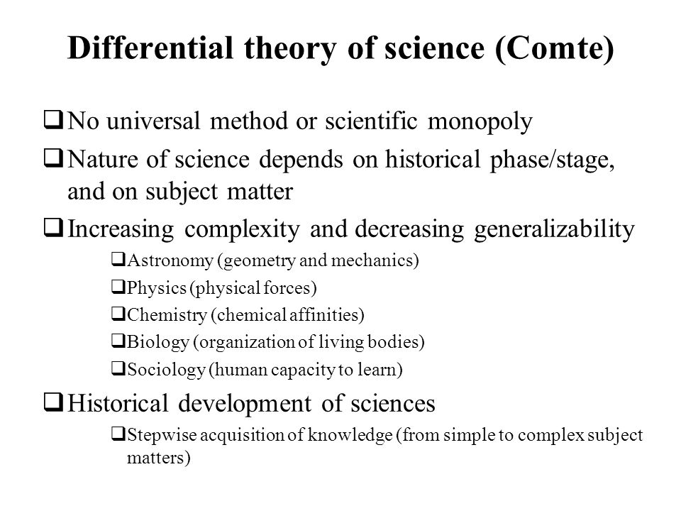 Differential theory of science (Comte)