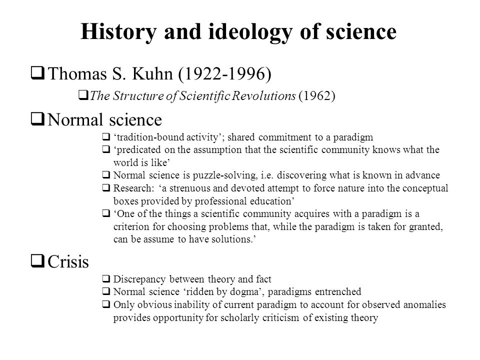 History and ideology of science