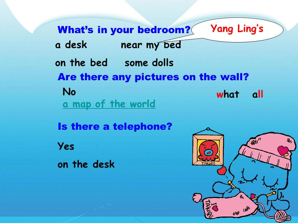 Yang Ling's What's in your bedroom a desk near my bed. on the bed some dolls. Are there any pictures on the wall