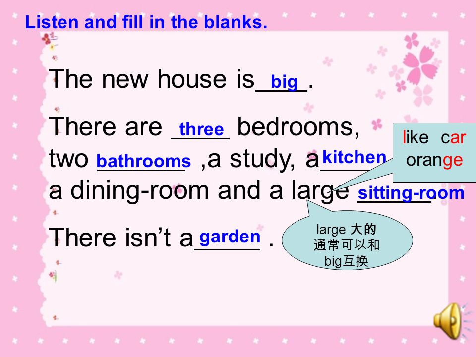There are bedrooms, two ,a study, a , a dining-room and a large .
