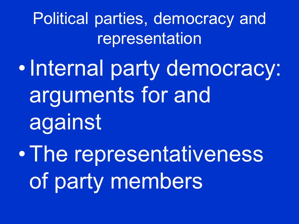Political parties, democracy and representation