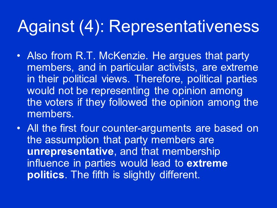 Against (4): Representativeness