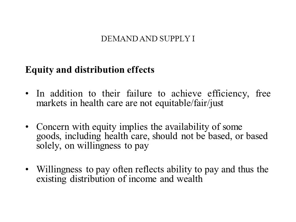 Equity and distribution effects