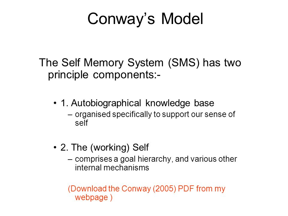 Conway's Model The Self Memory System (SMS) has two principle components:- 1. Autobiographical knowledge base.