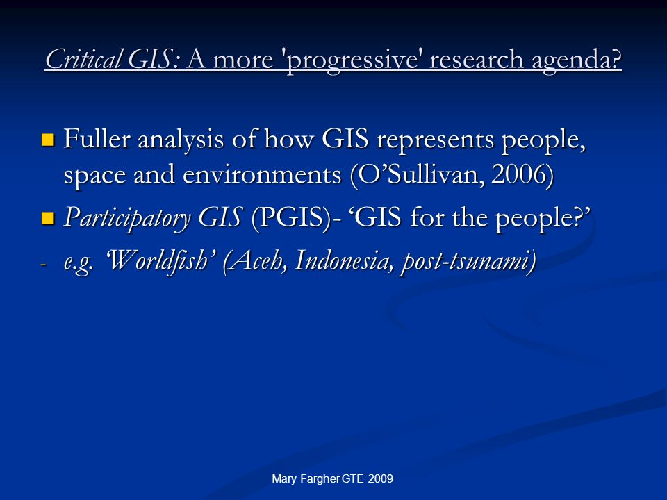 Critical GIS: A more progressive research agenda