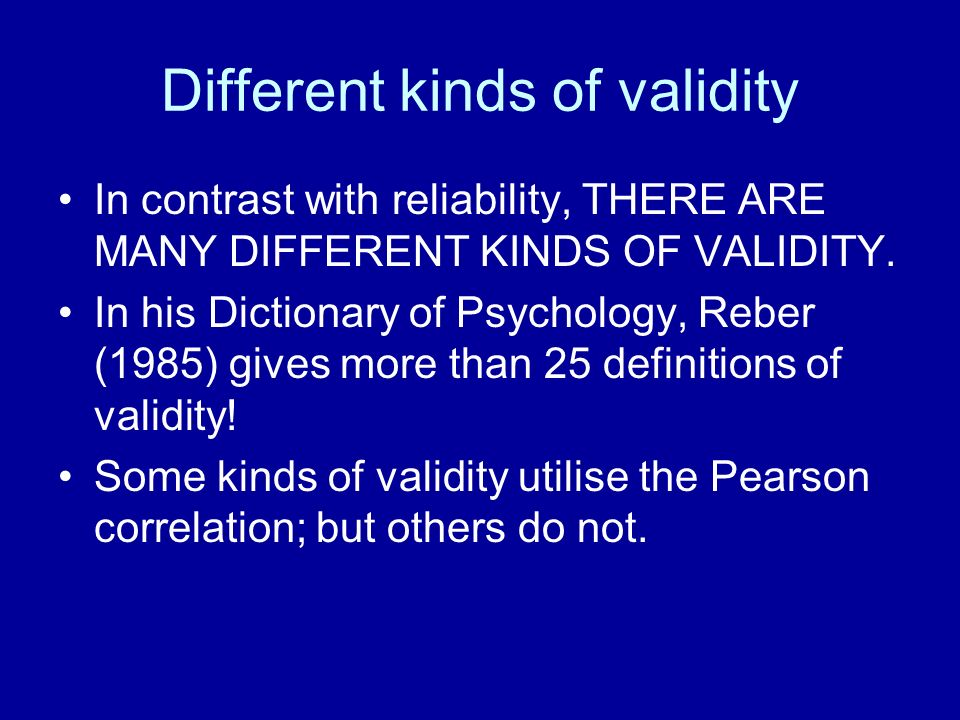 Different kinds of validity