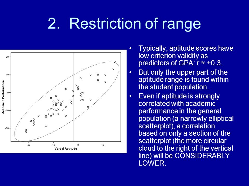 2. Restriction of range Typically, aptitude scores have low criterion validity as predictors of GPA: r ≈ +0.3.
