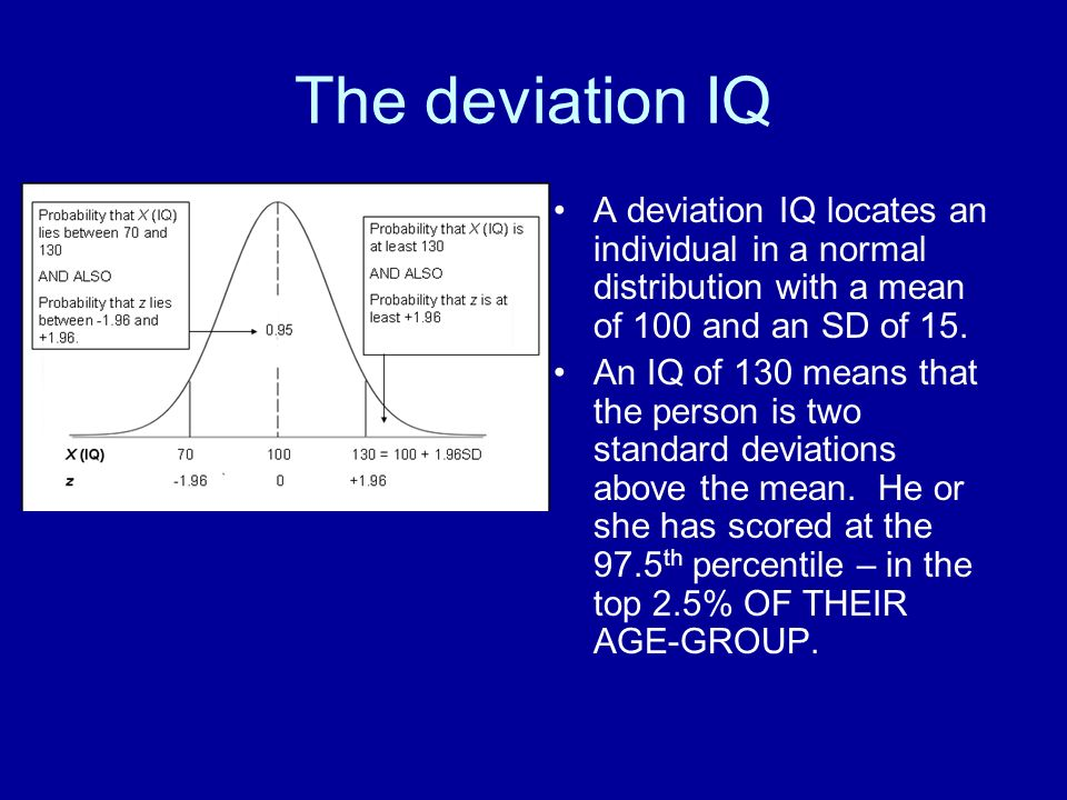 The deviation IQ A deviation IQ locates an individual in a normal distribution with a mean of 100 and an SD of 15.