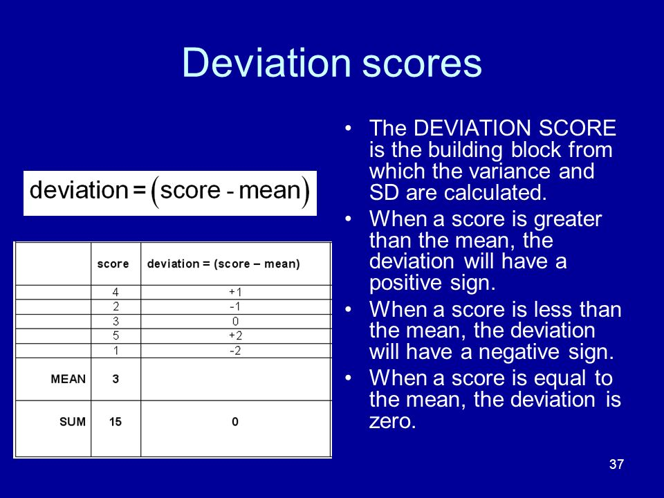 Deviation scores The DEVIATION SCORE is the building block from which the variance and SD are calculated.