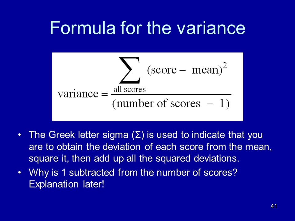 Formula for the variance
