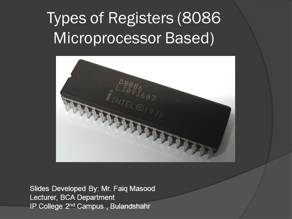 Types of Registers (8086 Microprocessor Based)