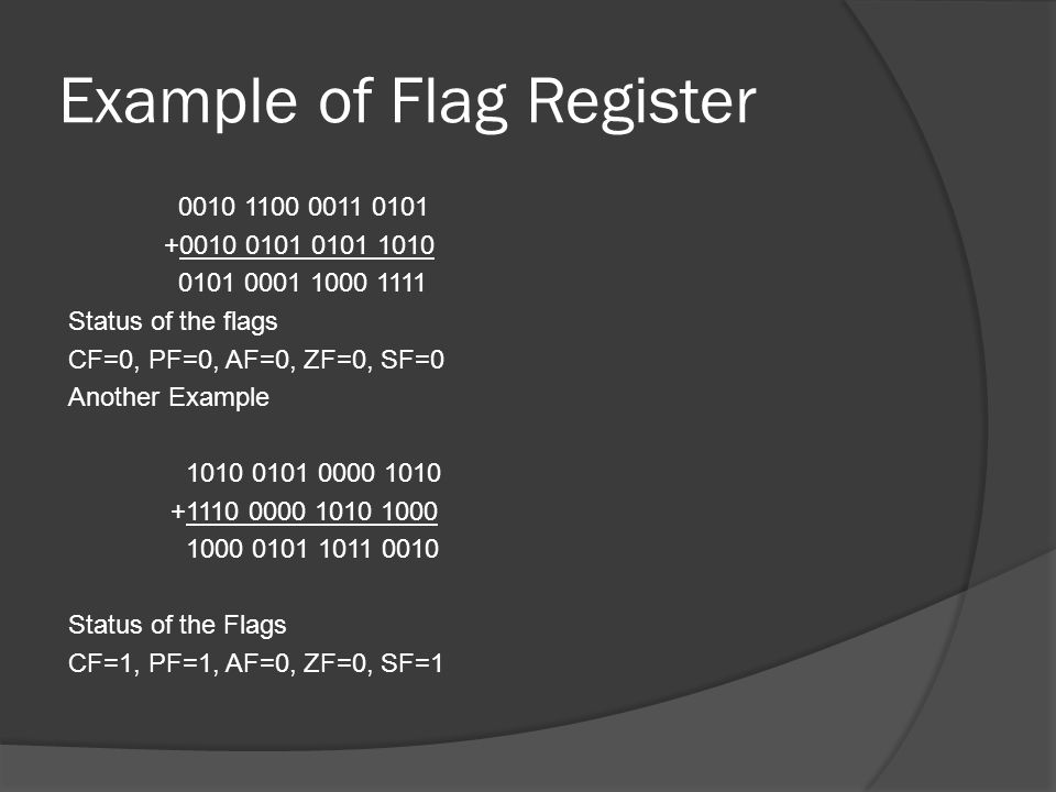 Example of Flag Register