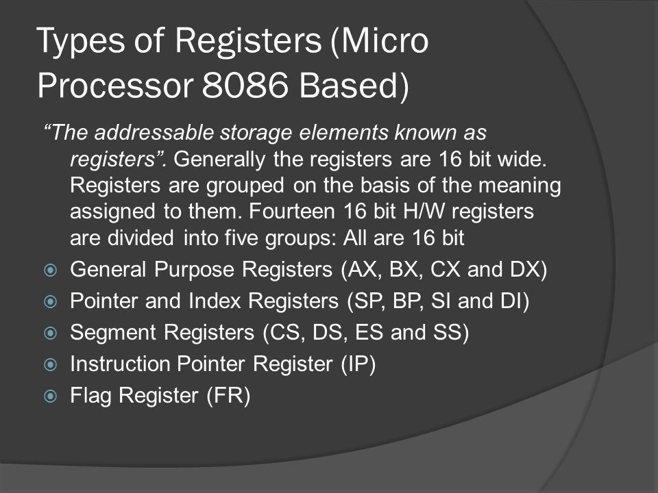 Types of Registers (Micro Processor 8086 Based)