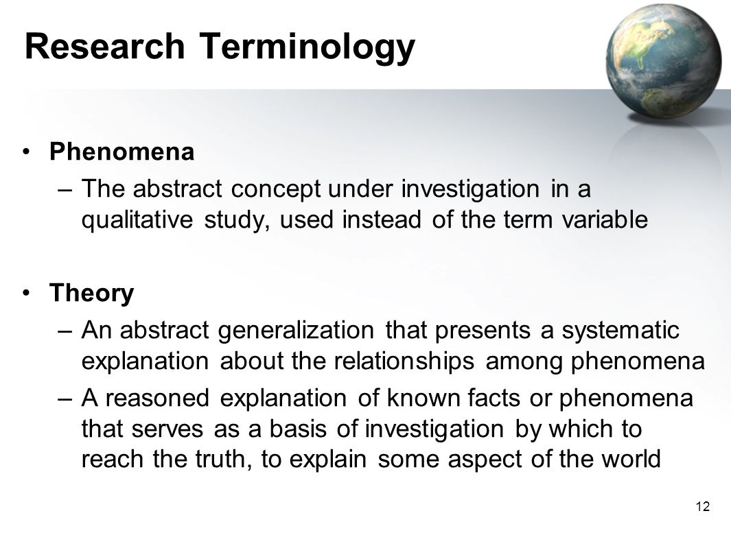 Research Terminology Phenomena