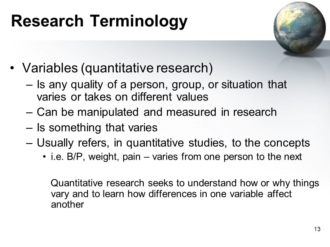 Research Terminology Variables (quantitative research)